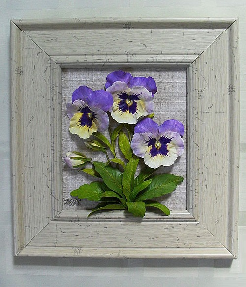 Delicate Pansies. Porcelain flowers by Julia Korshunova