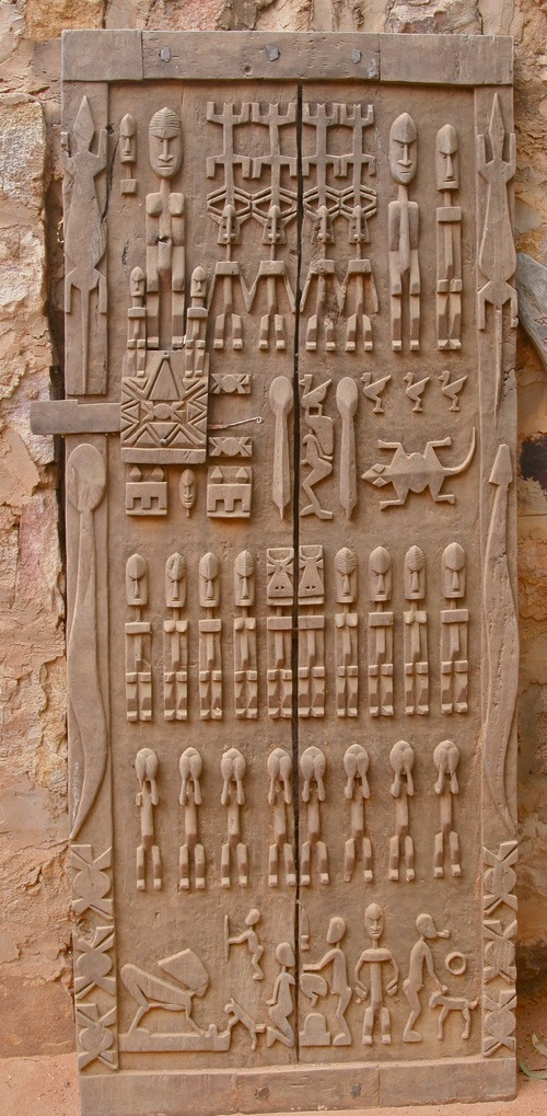 People of the Dogon, Mali, carved door