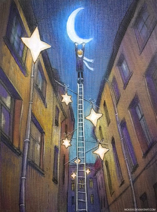 Picture of travel - star street in Riga. Illustration by Nokeek - Lena Gnedkova