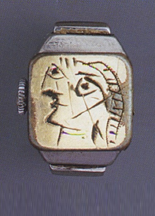 Portrait of Dora Maar engraved on brass plate of Juvénia watch inserted in chromium-plated metal ring, c. 1936-1939. Artist jeweler Pablo Picasso