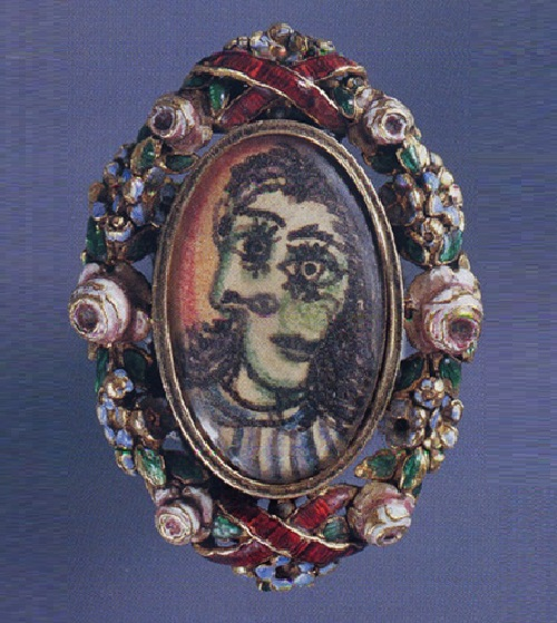 Portrait of Dora Maar in ink and color pencil by Artist jeweler Pablo Picasso set in carved yellow gold ring and polychrome enamel band, c. 1936-1939