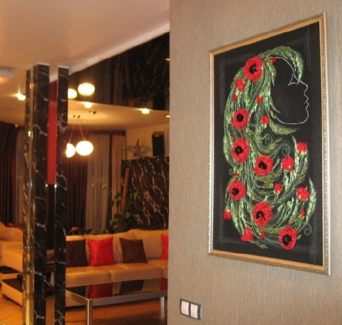 Portrait in the interior. Satin ribbon embroidery by Olesya Kruchinskaya