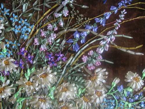 Satin ribbon, embroidery art by Olesya Kruchinskaya