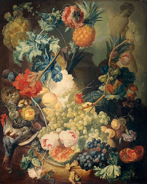 Still Life with Flowers, Fruits, and Poultry. Painting by Jan van Os, 1774
