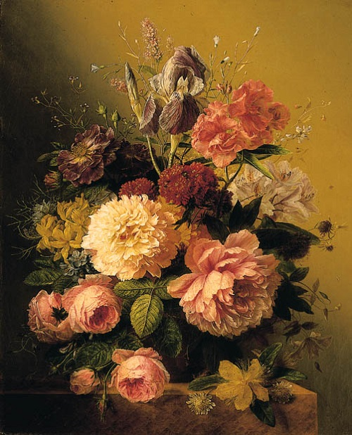 Still Life with Flowers. Dutch painter Arnoldus Bloemers