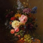 Exquisite Still Life with Flowers. Painting by Dutch artist Arnoldus Bloemers (Amsterdam, 1792 - The Hague, 1844)
