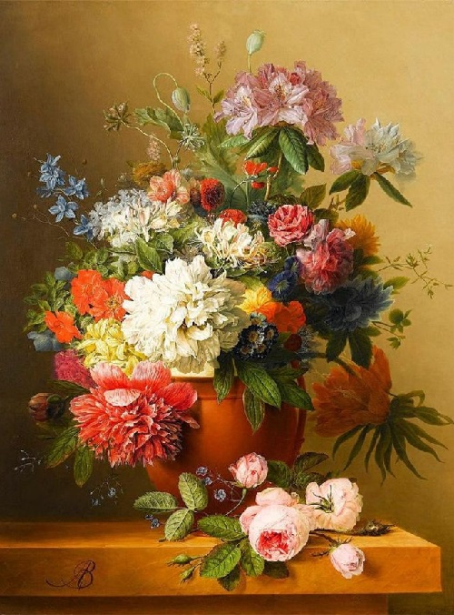 Still Life with Flowers. Painting by Arnoldus Bloemers