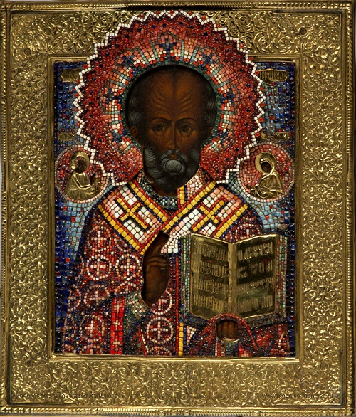 The world's first salary mosaic icon Saint Nicholas, 2006, enamel, copper, wood, gold leaf