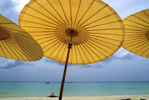 Yellow color. Umbrellas brighten the beach line and the sea in Phuket, Thailand
