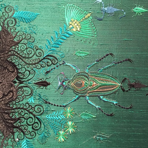 Underwater kingdom ruled by Jewel-like creatures, from Scorpions and beatles to Seahorses. Angelo Filomeno embroidery