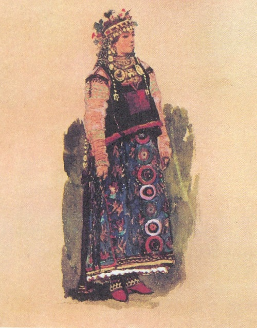 Vasnetsov. Kupava. Sketches of theatrical costumes. 1885