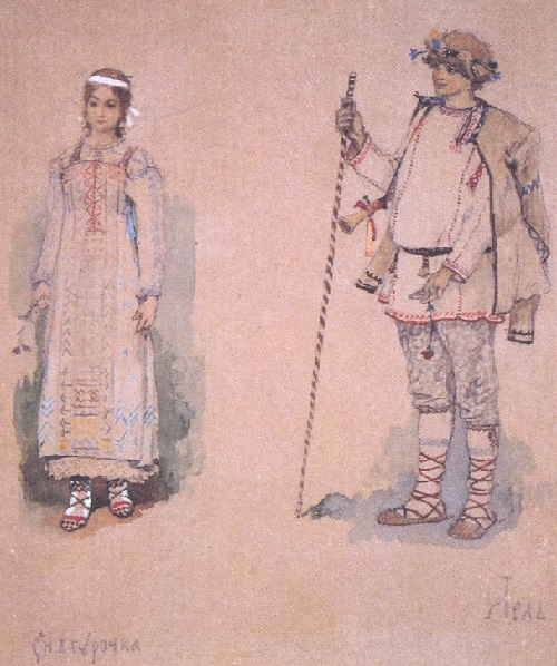 Snow Maiden by Viktor Vasnetsov. Snow Maiden and Lel. Sketch of theatrical costumes. 1885