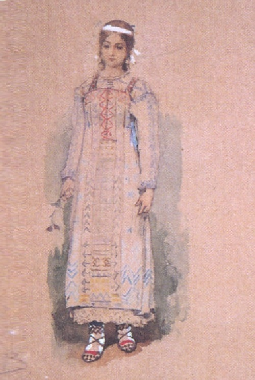 Snow Maiden by Viktor Vasnetsov. Sketch of theatrical costume. 1885