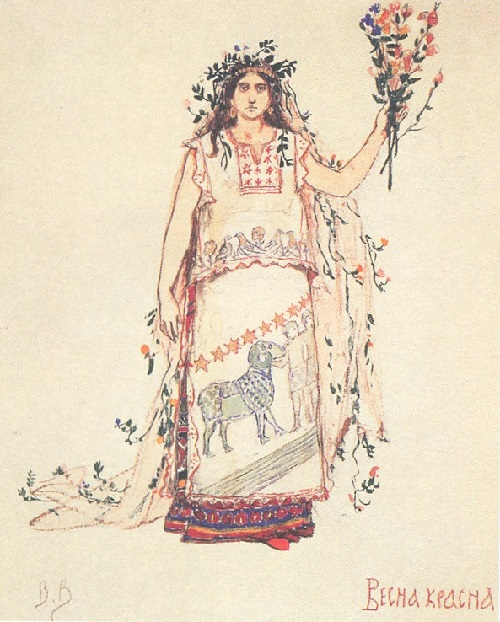 Snow Maiden by Viktor Vasnetsov. Spring - red. Sketches of theatrical costumes. 1885