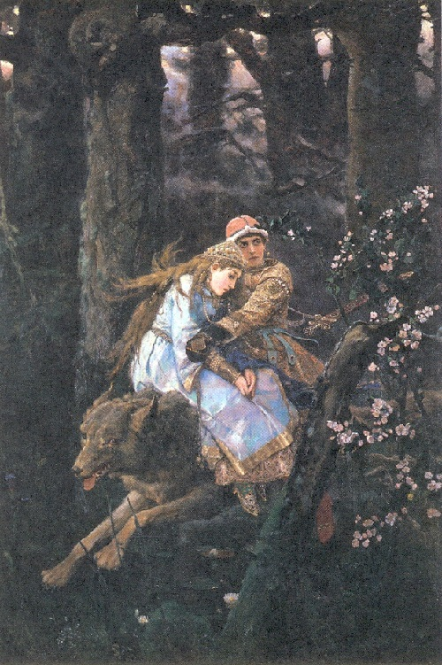 Fairy tale happiness by Vasnetsov. Ivan - Tsarevich on the Grey Wolf. 1889