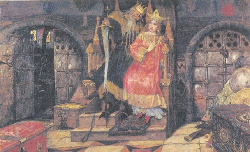 Fairy tale happiness by Vasnetsov. Koschey - immortal. Illustration for the book 'Mary - Morevna'