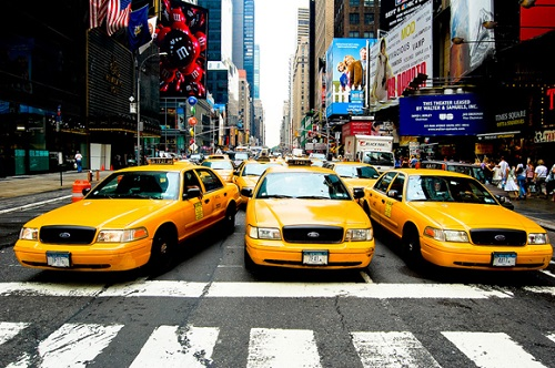 Yellow color. Yellow taxi, New York