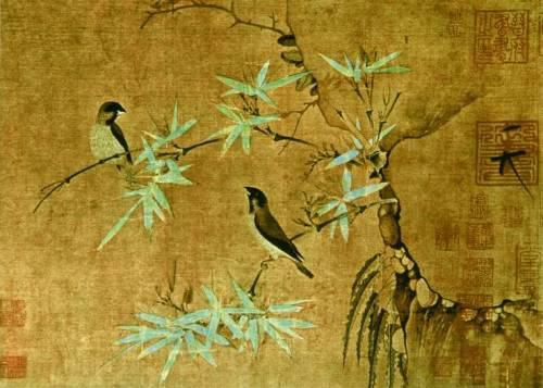 Zhao Ji, Hueytszun. Sparrows on bamboo