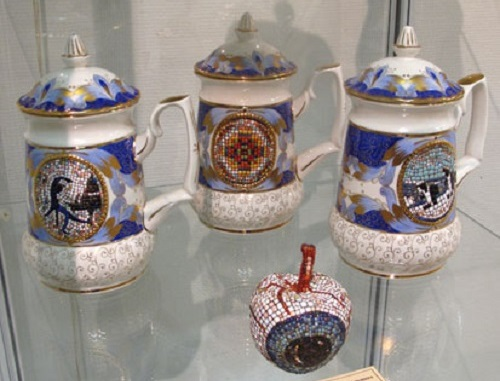 porcelain dishes with a mosaic