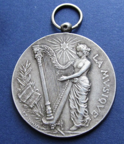 1903 Art Nouveau French Silver Music Art Medal