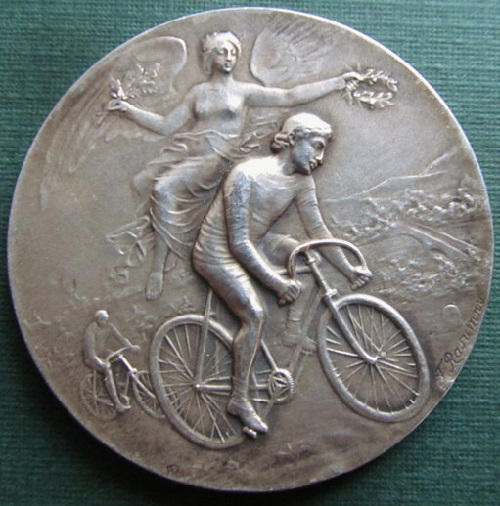 Angel Of Victory Cyclist 950 Sterling Silver Art Nouveau Medal