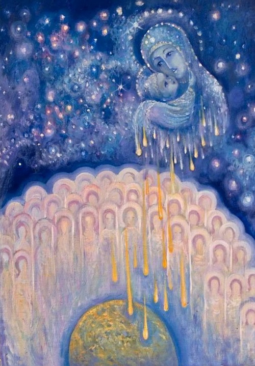 Angels in painting by Russian cosmic artist Elena Voinova-Bogoroditskaya