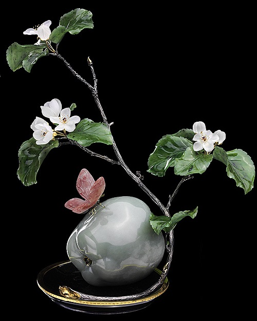 Apple tree branch. Gold, silver, emeralds, rubies, garnets, demantoids