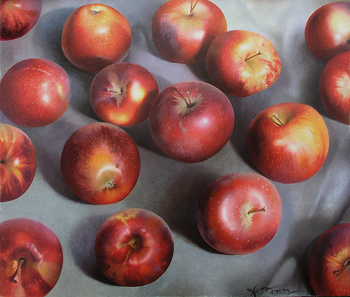 Apples. Hyperrealistic painting by Russian artist Pyotr Kozlov