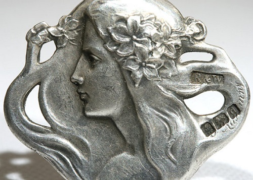 Art Nouveau Lady from the set of four silver buttons