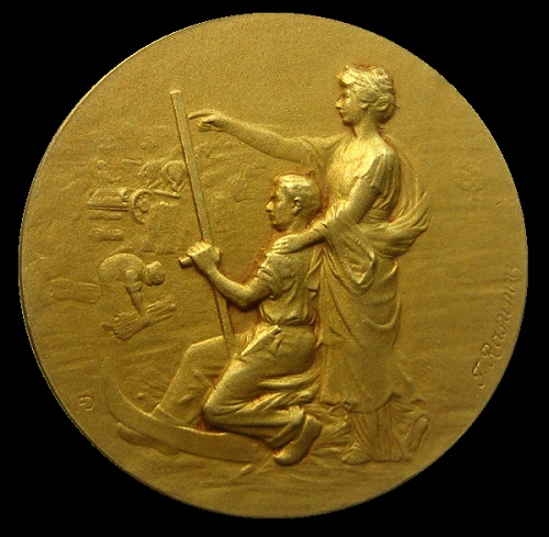 Award medal of the Agricultural Exhibition in Sousse, Tunisia. 1910. The obverse (gold)