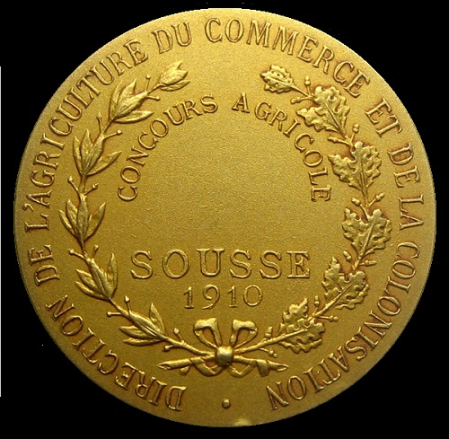 Award medal of the Agricultural Exhibition in Sousse, Tunisia. 1910. The reverse (gold)