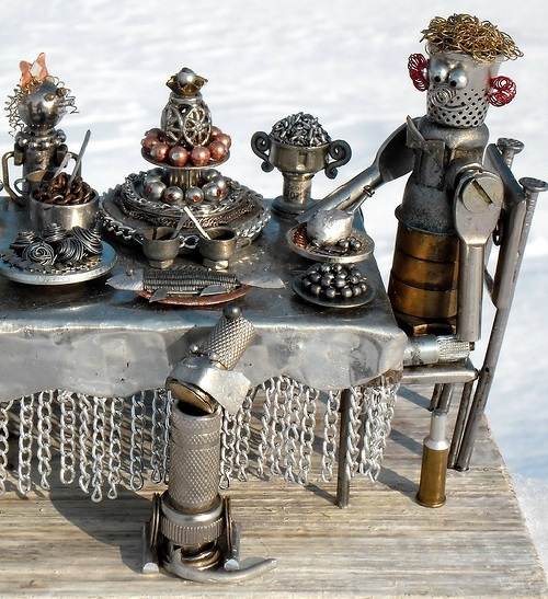 Birthday feast. Metal junk sculptures by Andrey K