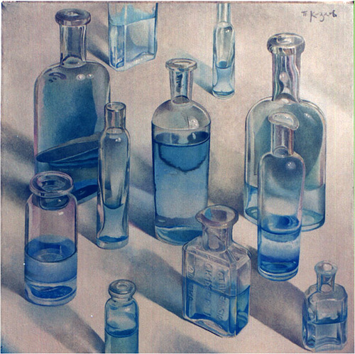 Bottles. Hyperrealistic painting by Russian artist Pyotr Kozlov
