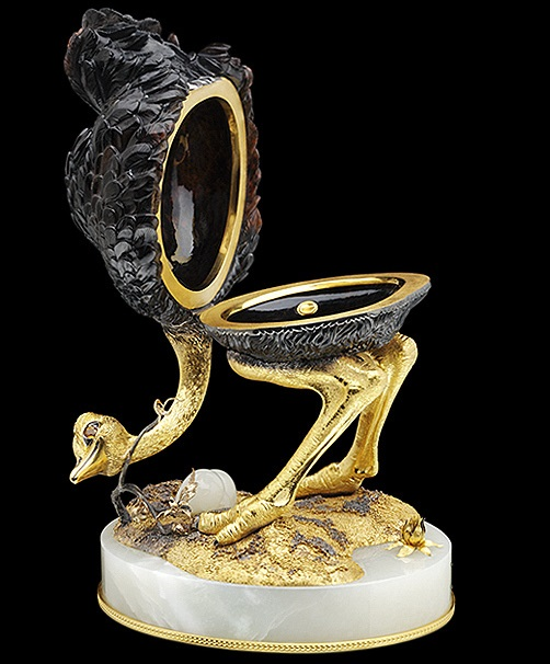 Anna Nova Jewelry house. Casket Ostrich. Gold, silver, obsidian, citrine, jade, gold plating