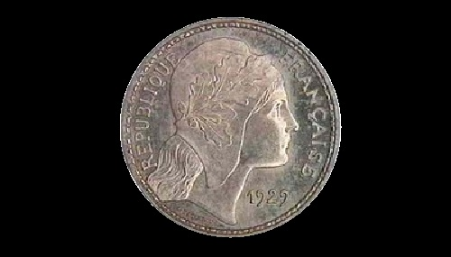 Coin 10 francs 1929. The obverse (Silver)
