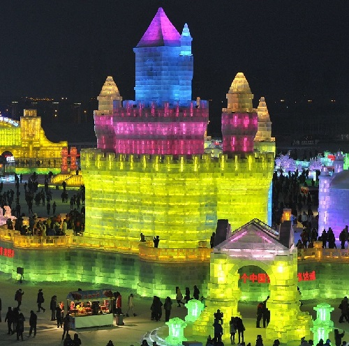 Fabulous ice sculptures at the 31 th International Ice and Snow Festival in Harbin, January 5, 2015