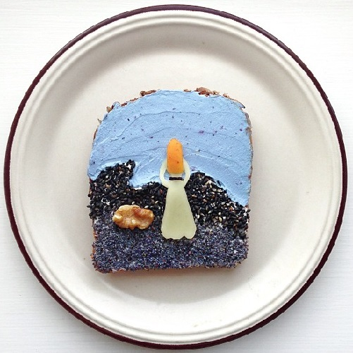 Edvard Munch, Young Girl on the Shore. Art Toast by food artist Ida Skivenes
