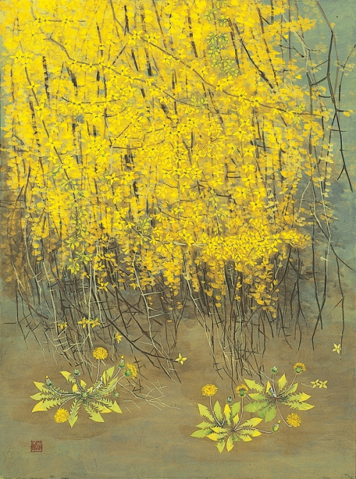 Forsythia. Korean flower painter Sookja Rho