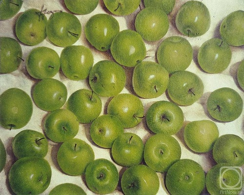 Green apples. Hyperrealistic painting by Russian artist Pyotr Kozlov