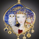 A girl with an owl. Handcrafted Enamel by Jewelry Artists Mona & Alex Szabados