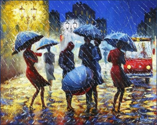 Rain in painting by Stanislav Sidorov