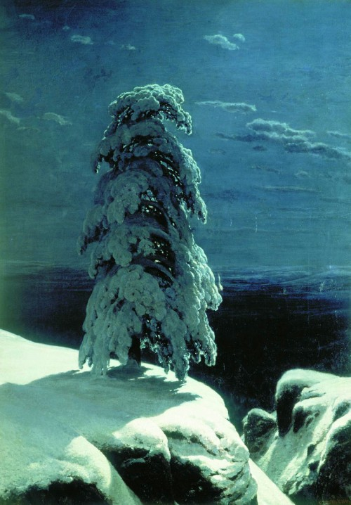 Russian landscape painter Ivan Shishkin. In the northern wilderness, 1891. On the poem by Mikhail Lermontov 'Pine'. Kiev Museum of Russian Art