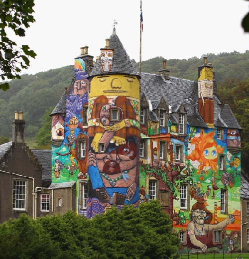 Painted by four Brazilian graffiti artists Kelburn Castle