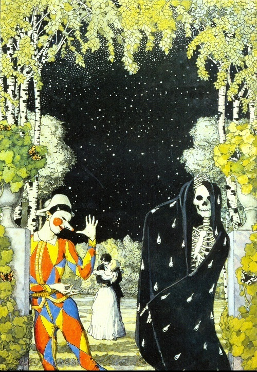 Konstantin Somov. Harlequin and Death. 1907. Watercolor and gouache on paper. Tretyakov Gallery, Moscow