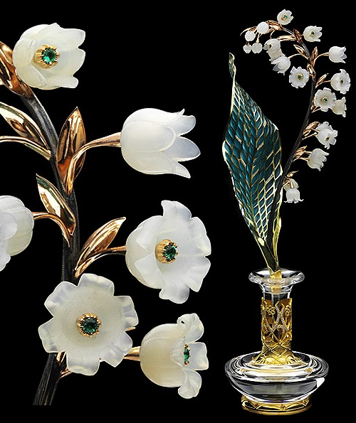 Lily of the valley. Gold, silver, diamonds, agate, clear quartz, stained glass enamel, gold-plated