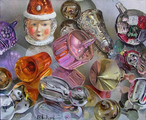 Old toys. Hyperrealistic painting by Russian artist Pyotr Kozlov