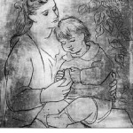 Drawing by Picasso. Olga Picasso with son