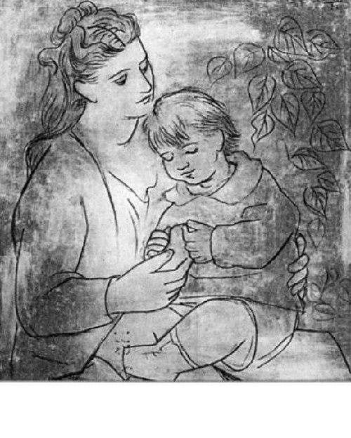 Olga Picasso with son. Drawing by Picasso