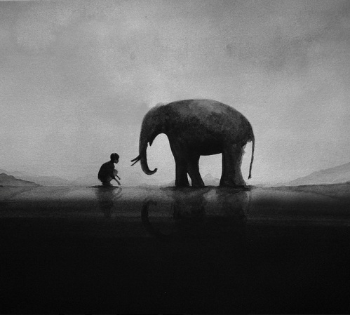 One Day In The Elephant Village. Black and white watercolors by Elicia Edijanto