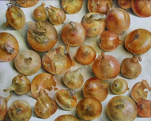 Onion. Hyperrealistic painting by Russian artist Pyotr Kozlov
